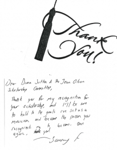 Thank you note from Jean Olson Memorial Fund Scholarship recipient Sammy Fuller