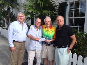 Bill and MaryCarlin Porter Fund Grant to VNA/Hospice: (left to right) Haven Hospice and VNA/Hospice of the Florida Keys Interim President Jim Poole, VNA/Hospice Corporate Advisory Board Chairman Richard Grusin, Bill Porter, and VNA/ Hospice Corporate Advisory Board Member Stuart Kaufman.