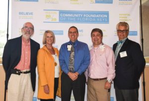 CFFK Board Member Ron Burd, CFFK President/CEO Dianna Sutton, Lower Keys Medical Center CEO David Clay with LKMC's John Emery, and CFFK Chair Roger Heinen.
