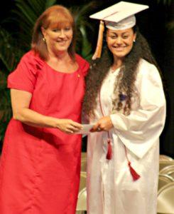 KWHS Principal Amber Acevedo and Raylyn Faatuai